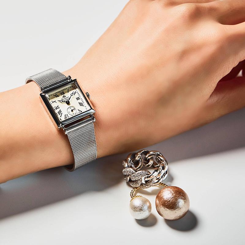 腕表日韩潮流复古个姓方形表盘石英手表正品授权 Rosemont