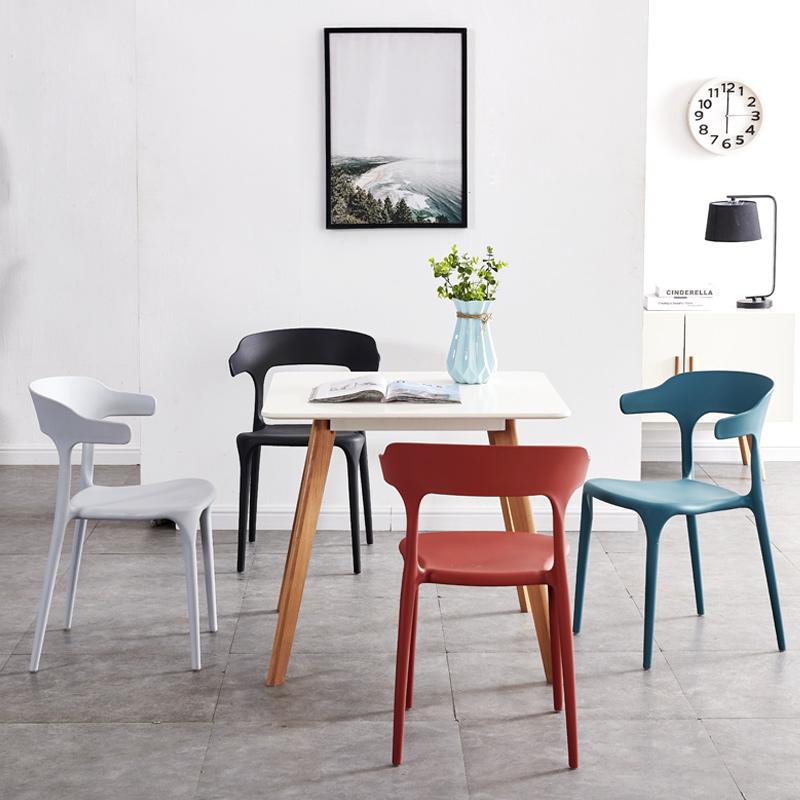 北欧牛角塑料椅子靠背大人靠椅大人胶椅家用塑胶餐椅加厚现代简约