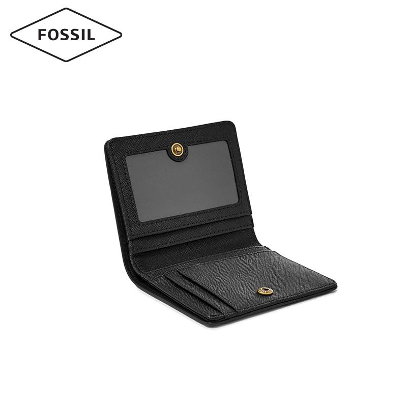 欧美休闲轻便纯色搭扣短款折叠多卡位女士钱包 Fossil