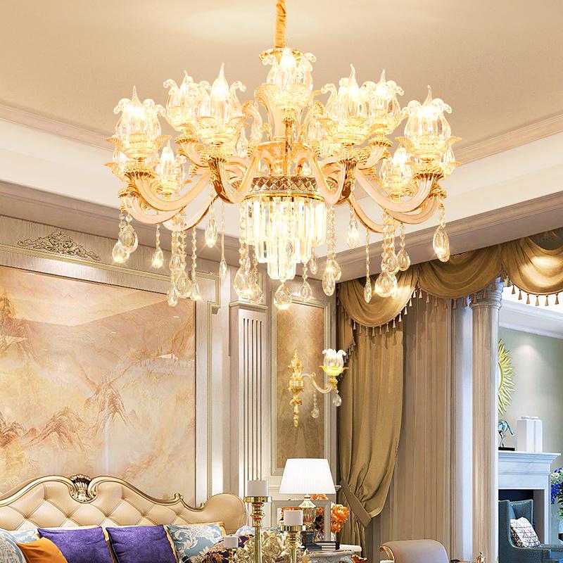 年新款奢华餐厅水晶吊灯卧室酒店别墅灯具 2019 欧式吊灯网红客厅灯