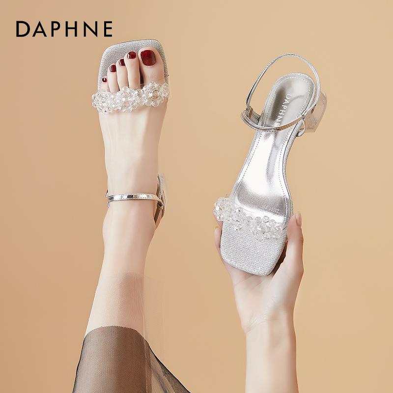 年夏季新款女鞋一字带水钻方头露趾低跟凉鞋女 2021 达芙妮时尚百搭
