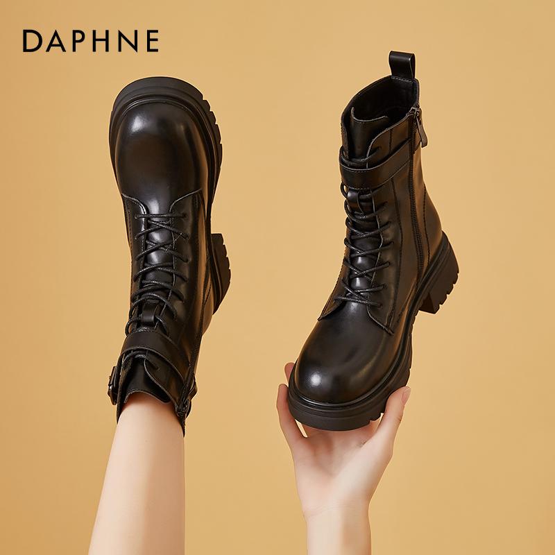 年新款靴子拉链短靴女春秋季单靴粗跟女靴 2021 达芙妮黑色马丁靴女