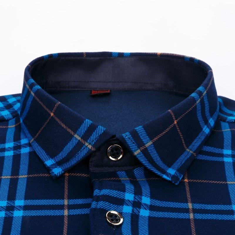秋冬季格子保暖衬衫男士加绒加厚长袖纯色衬衣宽松大码中年爸爸装