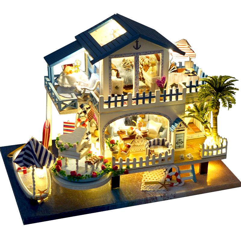 巧之匠diy小屋迷你蓝色旋律手工拼装小房子模型玩具生日礼物女生