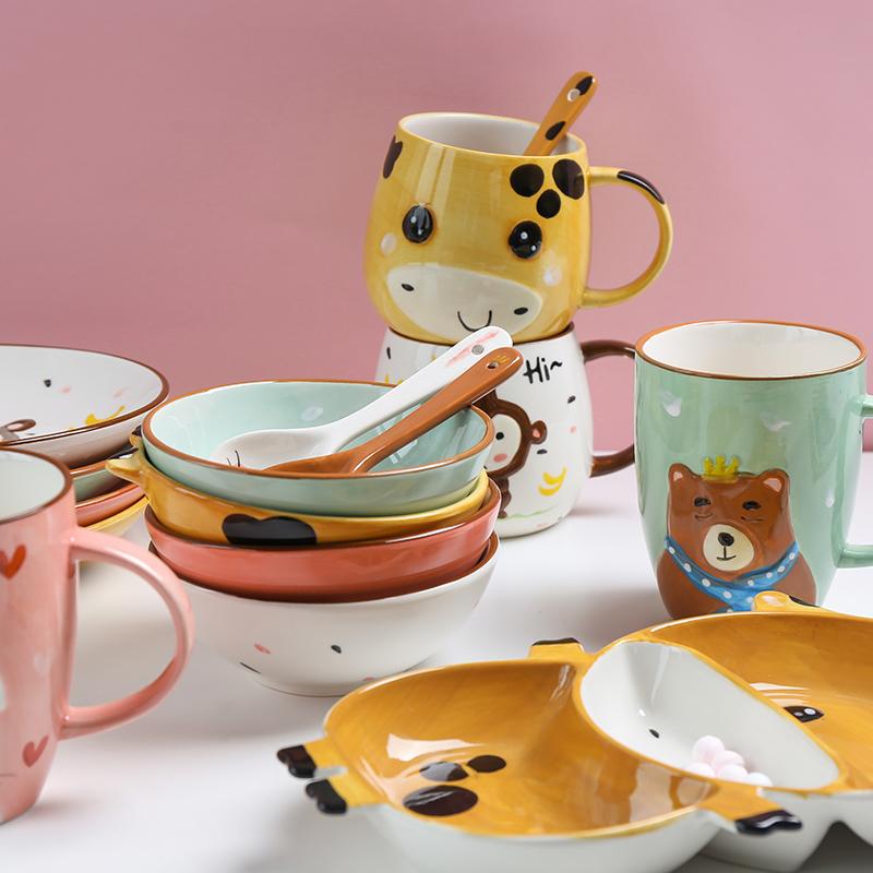 tinyhome可爱卡通手绘小兔子胡萝卜家用陶瓷小碗小孩吃饭碗水果碗