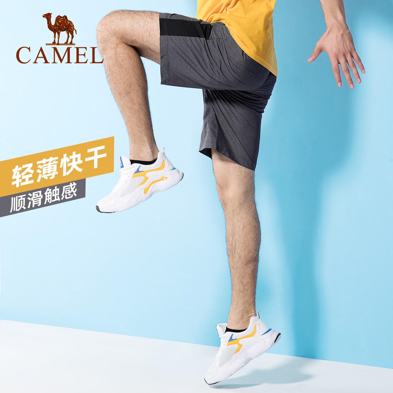 骆驼运动短裤男2020春夏新款舒适透气耐磨户外运动梭织中长裤男