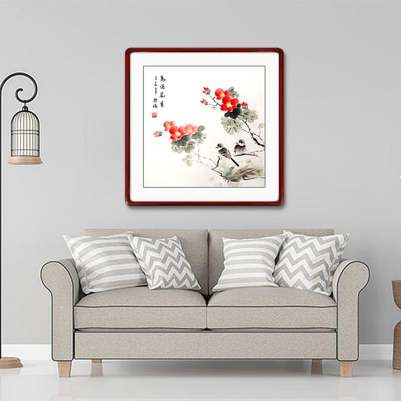 顏堂手繪真跡斗方國畫花鳥餐廳客廳臥室新中式裝飾畫沙發背景墻畫