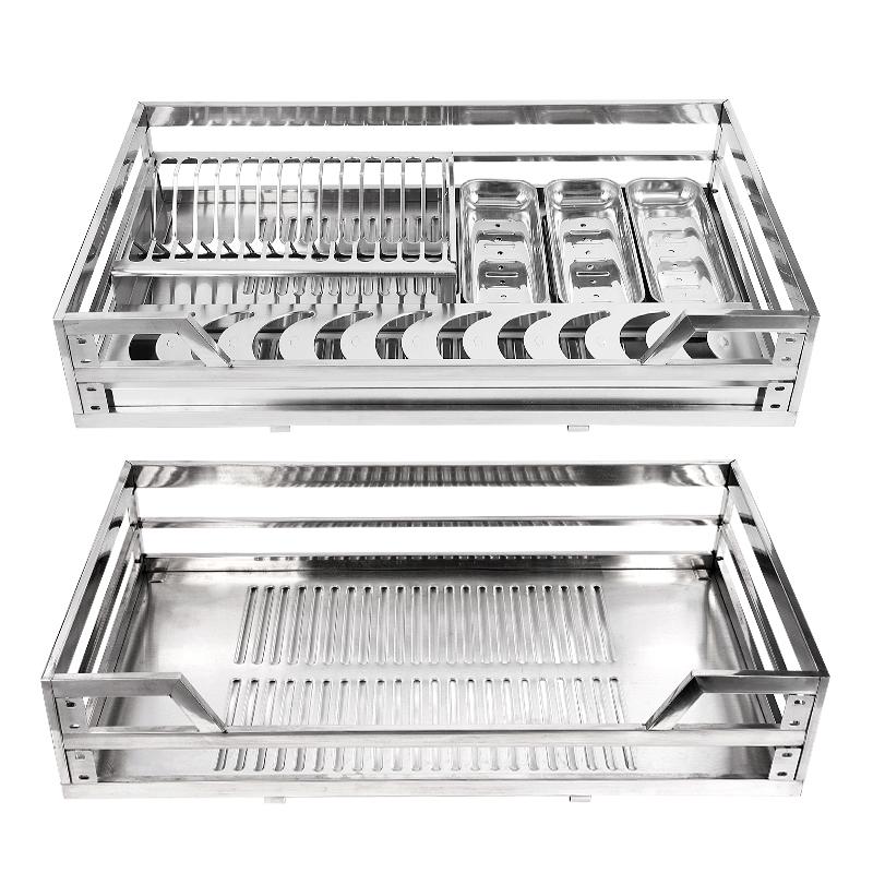 不锈钢厨房橱柜阻尼双层抽屉式调味碗碟收纳碗架配件 304 拉篮碗篮