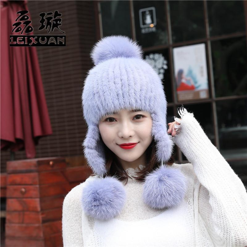 磊璇冬季水貂毛皮草帽子狐狸毛球护耳帽冬天保暖貂皮加厚编织女帽