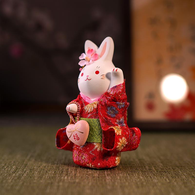 日本要师窑樱花和服兔子摆件日式和风女生陶瓷礼物生日结婚汽车载