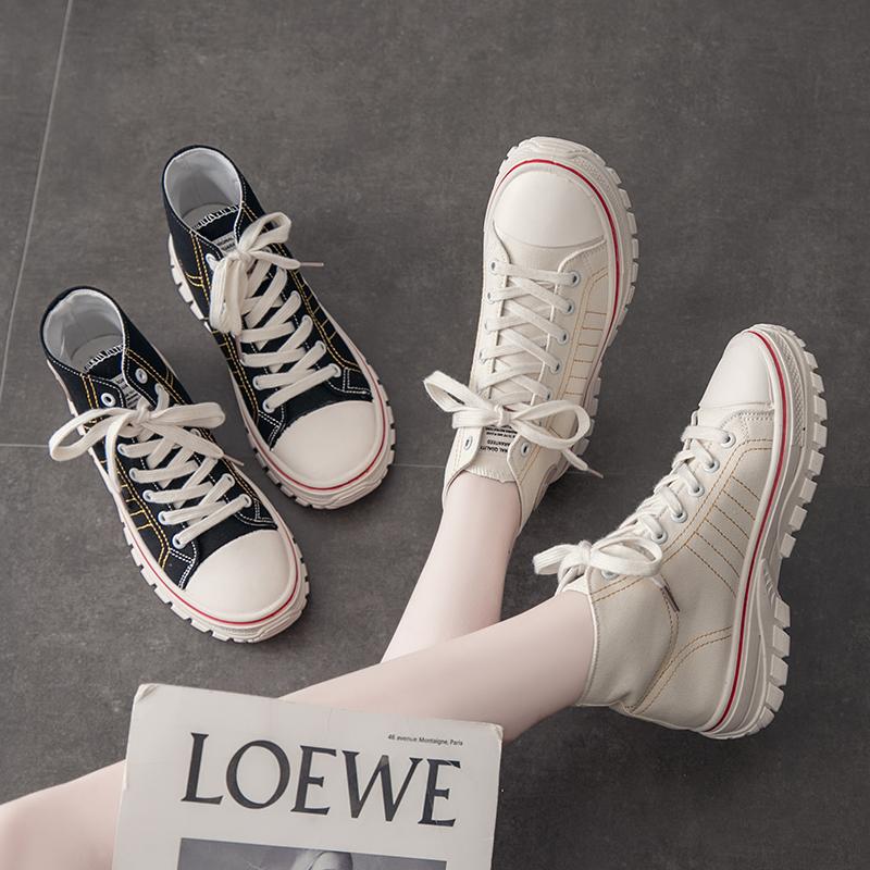网红高帮鞋子女2020新款百搭韩版学生帆布鞋ins街拍潮鞋春季女鞋