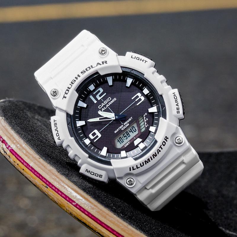 太阳能运动光能双显表 1A S810W AQ 学生电子表 casio 卡西欧男士手表