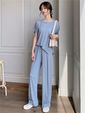 Elf Story leisure suit summer new wide leg pants fashion by age was thin trousers Western style two-piece t-shirt