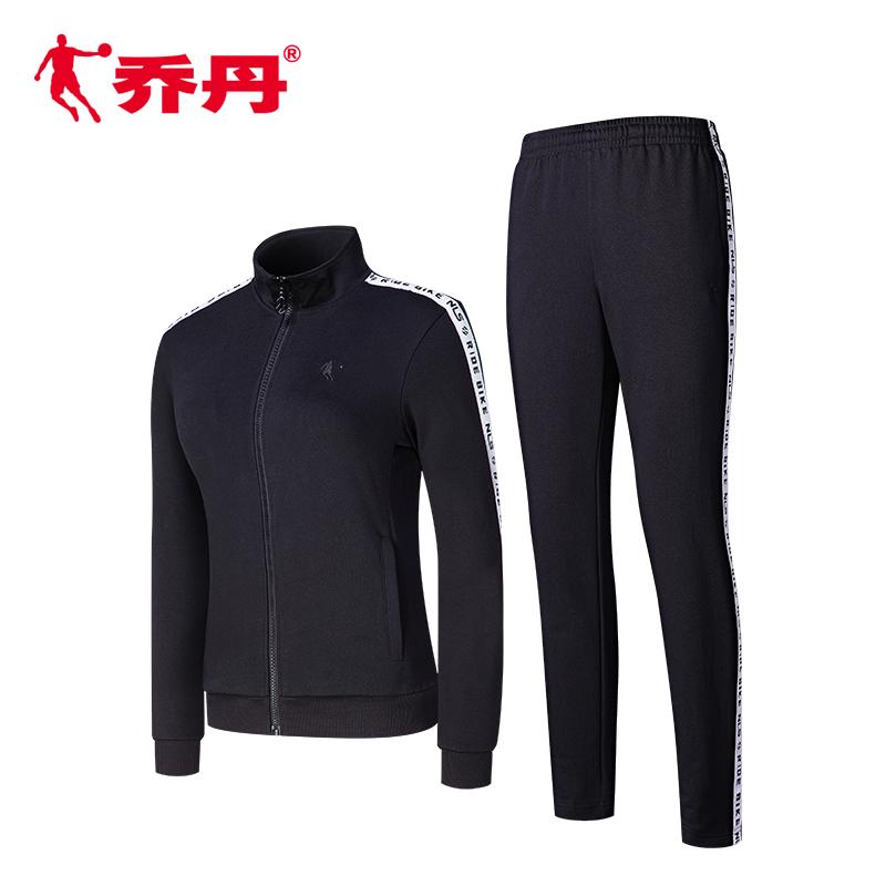 乔丹服装女装运动套装2018冬季新款运动服套装跑步两件套女子套装