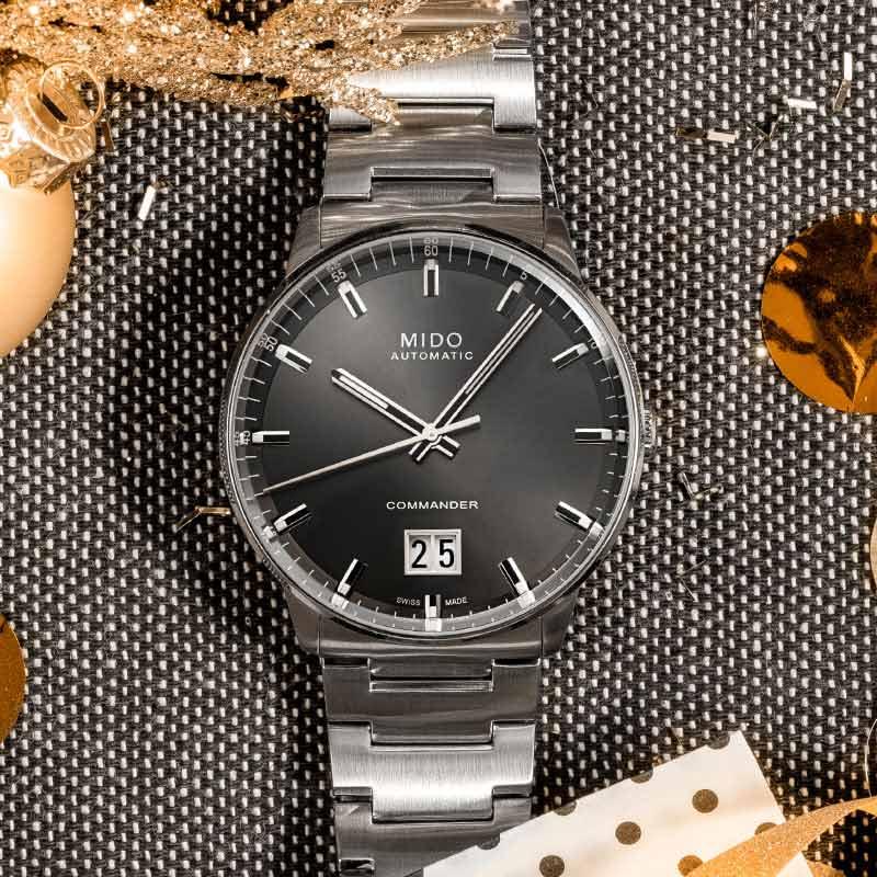 美度指挥官男表自动机械手表瑞士原装官方正品日历钢带腕表 Mido
