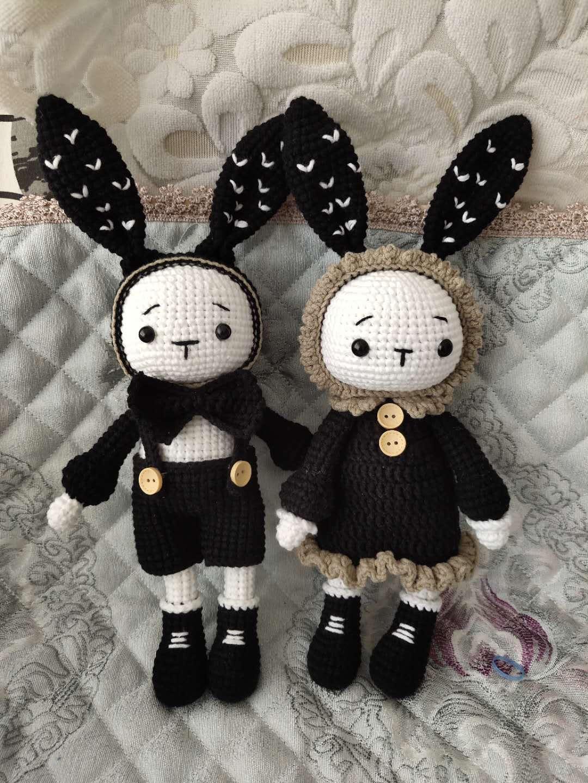 兔子情侣兔可爱情人节毛线钩针玩偶手 中国礼物成品可选色可绣字