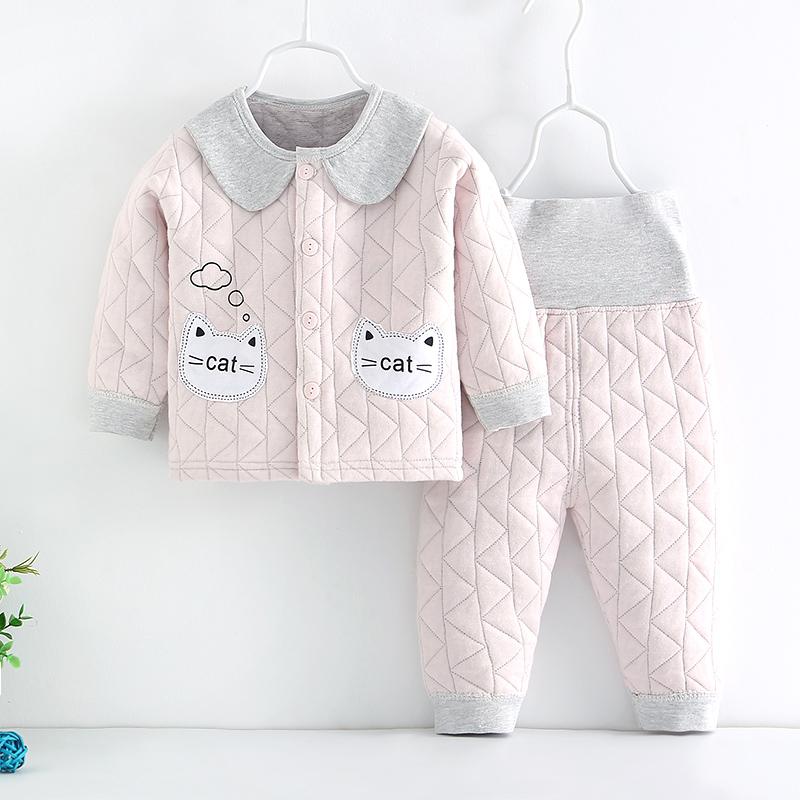 岁女童纯棉内衣秋冬款高腰裤 0  新生婴幼儿衣服保暖宝宝分体套装 2