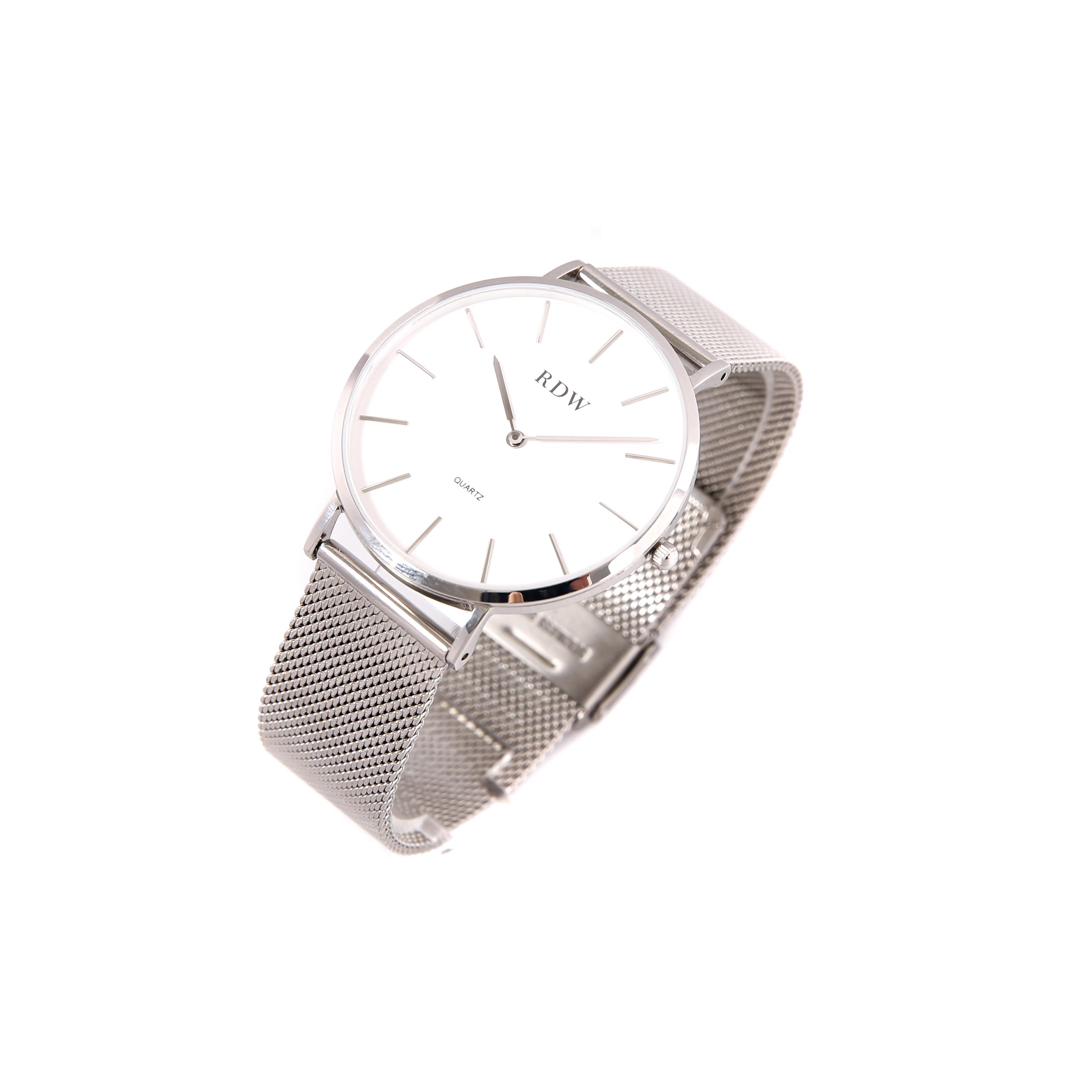 简约防水石英手表 钢带时尚潮流 40mm 本色白面无刻度 40mm 男款 RDW