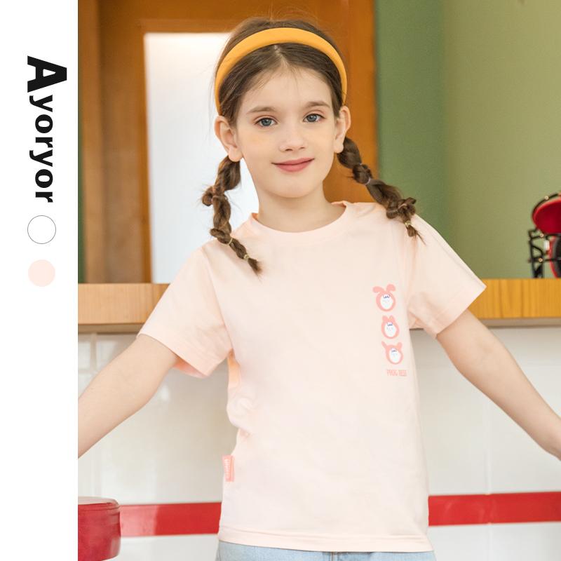 女童t恤夏装短袖上衣儿童装中大童纯棉体恤2021新款薄打底衫洋气主图