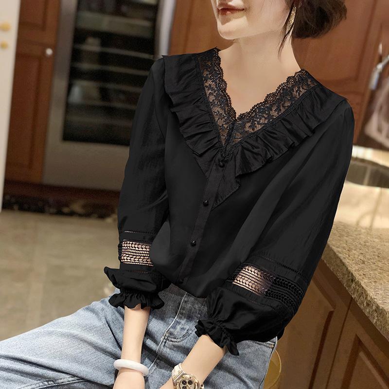 货潮泡泡袖衬衫女长袖衬衣黑色