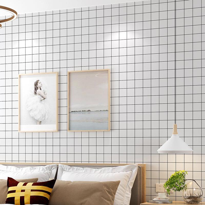 温馨寝室宿舍衣柜子翻新贴装饰壁纸 pvc 墙纸自贴格子黑白色防水 ins