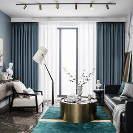 100%全遮光加厚隔音隔热窗帘布客厅卧室防晒遮阳现代简约成品窗帘