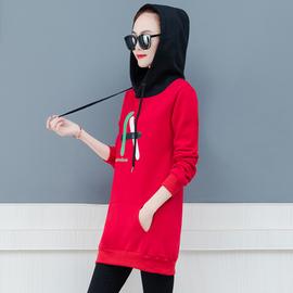 加绒加厚卫衣少女生秋冬装2020新款初中学生韩版修身显瘦百搭外套