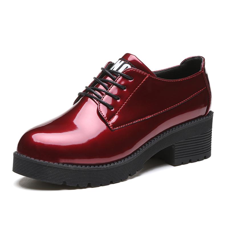 小皮鞋女2020春季新款单鞋中跟系带学生鞋子粗跟百搭英伦风女鞋子