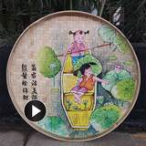 Bamboo Hand-painted Dustpan Painting Ceremony Zhiren Yixin Wall Decoration Wall Decoration Rural Pendant Farmhouse Hotel Decoration