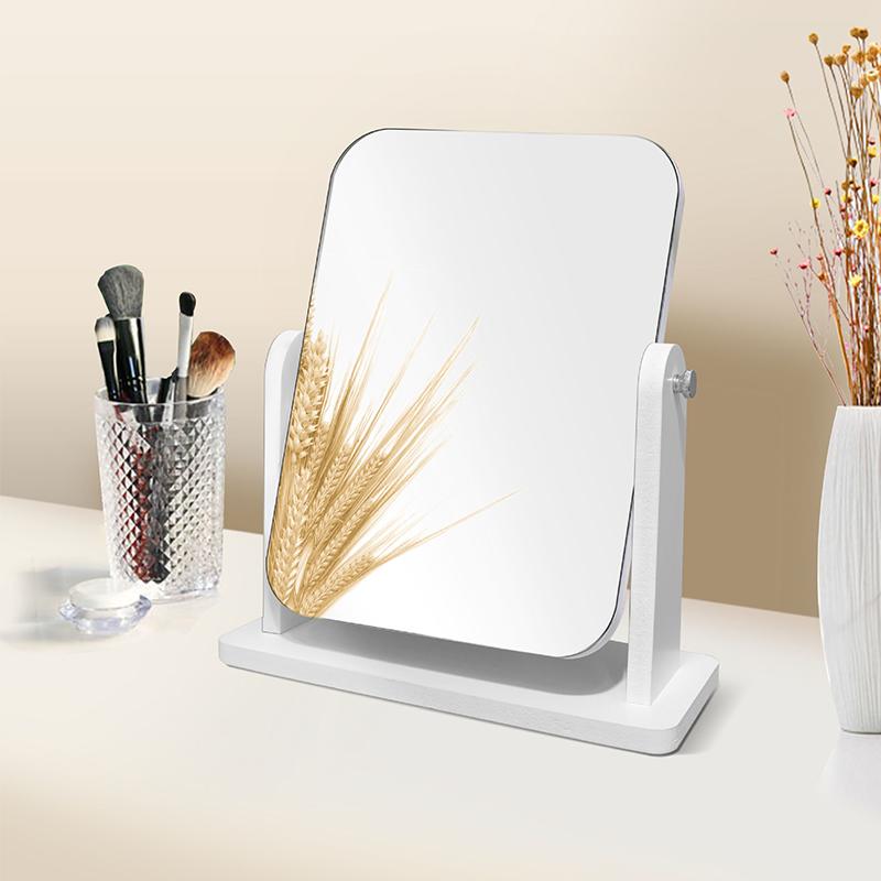 网红木质台式化妆镜宿舍女桌面便携大号学生小镜子折叠家用梳妆镜