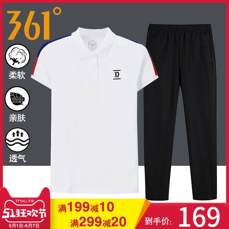 361度运动套装女夏季休闲短袖361女士翻领运动服跑步夏装套装薄款
