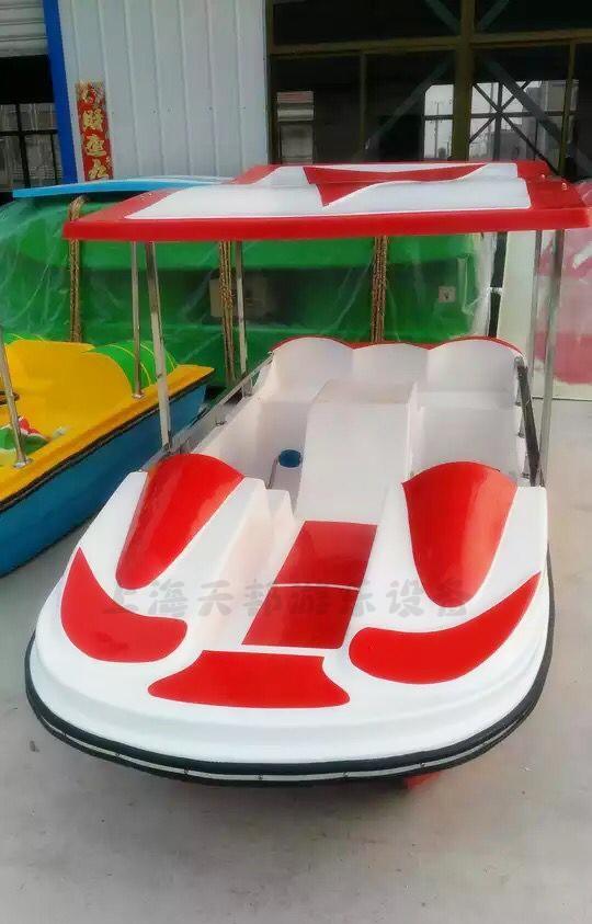 玻璃钢船水上自行车公园游船游乐设备 人脚踏船 5 4 水上双人脚踏船