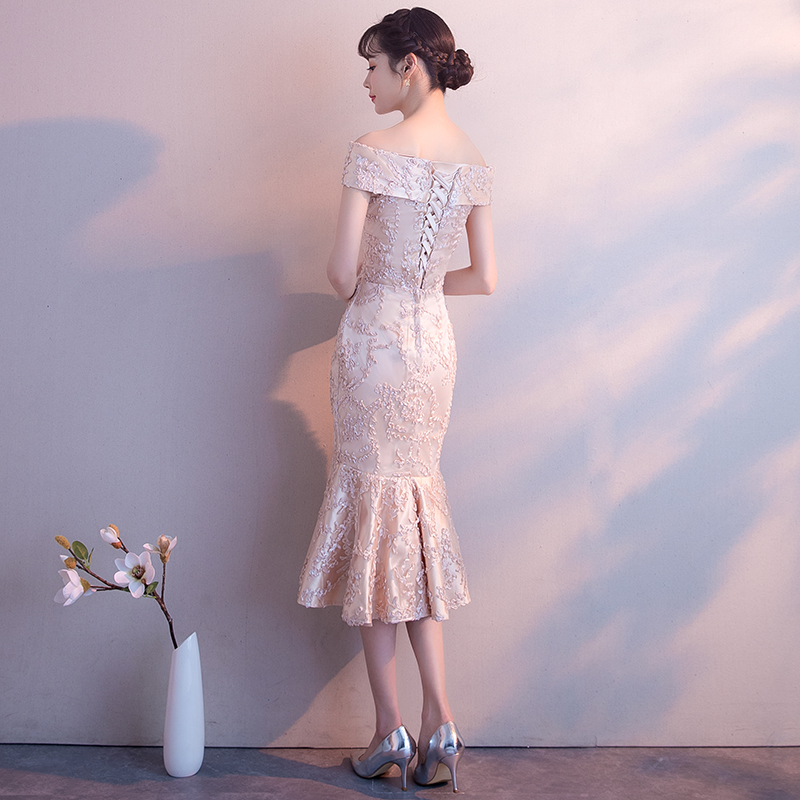 一字肩伴娘服2019新款鱼尾中长款显瘦气质聚会洋装宴会小晚礼服女