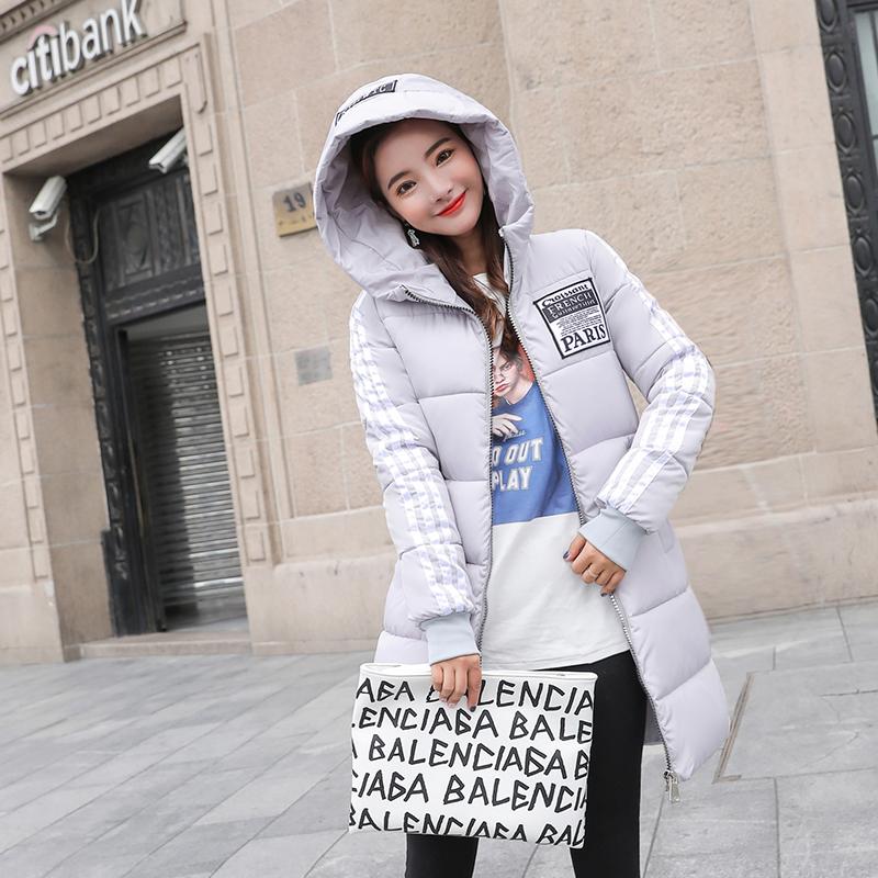 新款冬装羽绒棉衣女中长款修身百搭韩版连帽大码外套潮 2019 棉服女