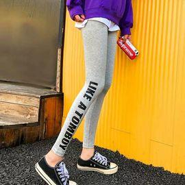 打底裤女外穿网红春秋棉加绒加厚新款灰色带字母运动紧身裤子潮流