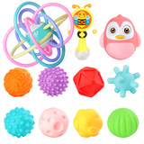 Harmanton catches the ball Manhattan baby ball toys newborn baby 0-36 months can bite the soft rubber to touch the ball