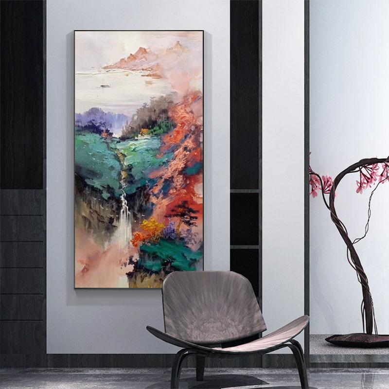 新中式入戶玄關客廳過道裝飾畫現代簡約手繪油畫風景山水招財掛畫