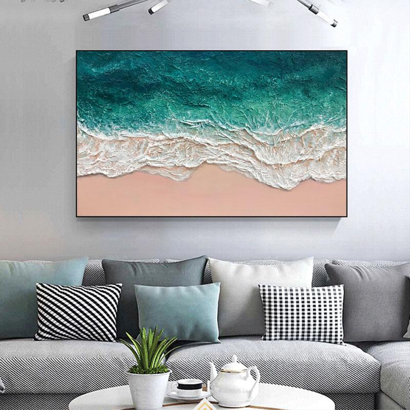 純手繪油畫客廳玄關沙發背景墻裝飾畫大海灘風景壁畫北歐輕奢掛畫