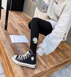 韩国东大街打底裤女外穿春秋款薄款季小雏菊灰色网红九分紧身显瘦