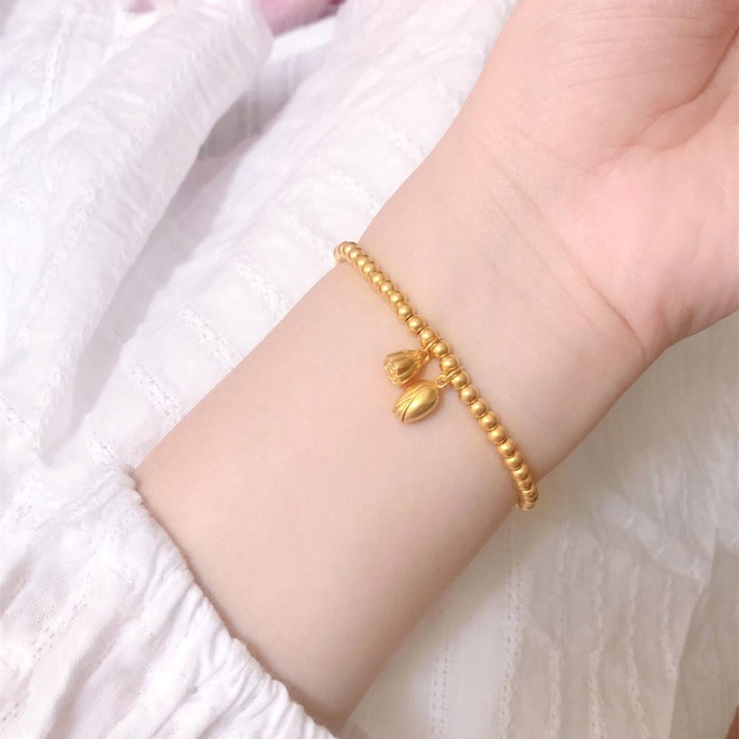 新款两世欢手链女黄金色传承合莲心莲蓬转运珠手饰女友礼物 2021