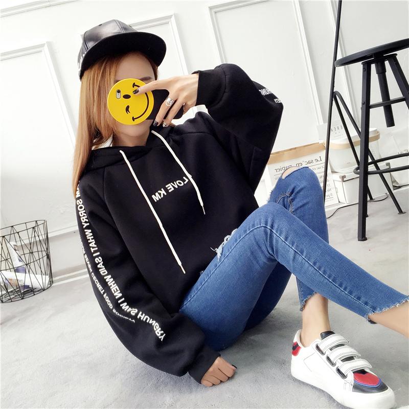 新款韩版学生宽松长袖连帽外套 2019 卫衣女秋冬装加绒加厚套头上衣