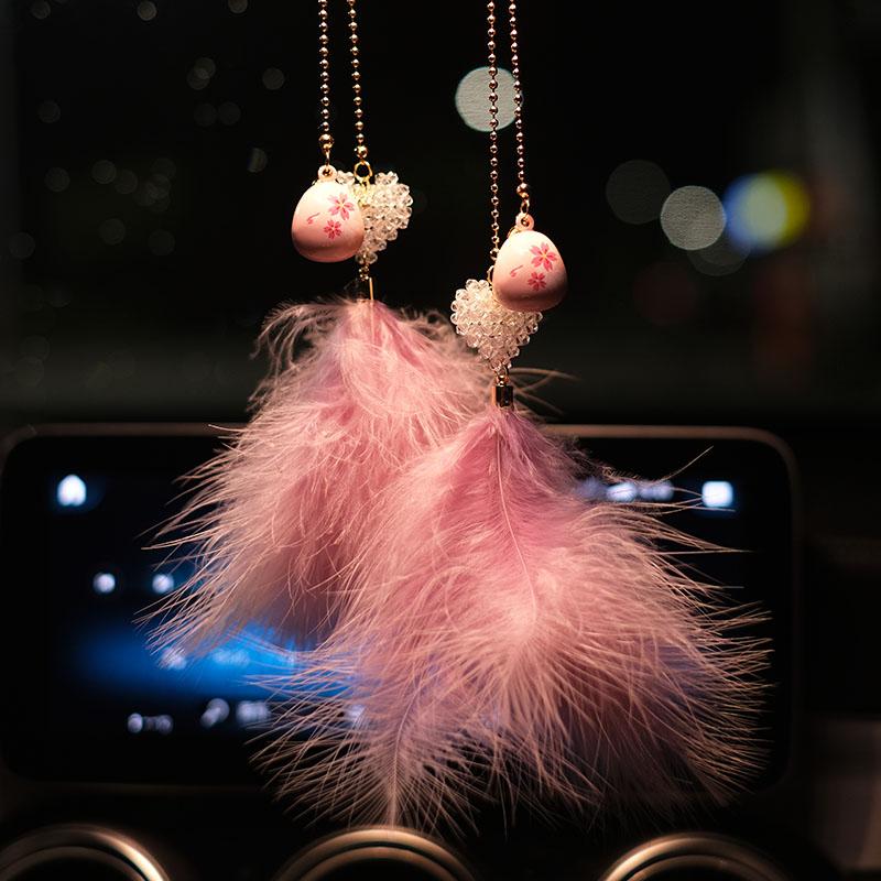 韩版羽毛汽车挂件车载后视镜挂饰吊坠高档水晶车内饰品摆件女神款