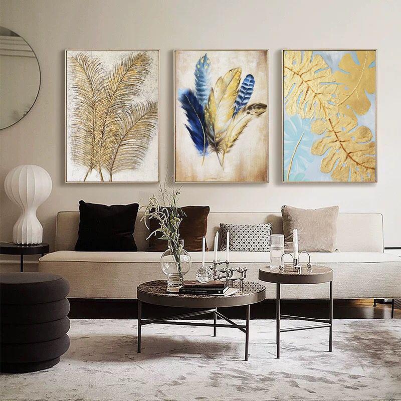 手繪北歐油畫玄關美式輕奢豎版裝飾畫客廳掛畫餐廳大幅別墅壁畫