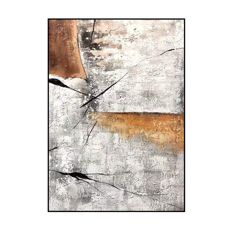 手繪原創抽象玄關客廳大幅裝飾畫別墅走廊北歐現代簡約輕奢油畫