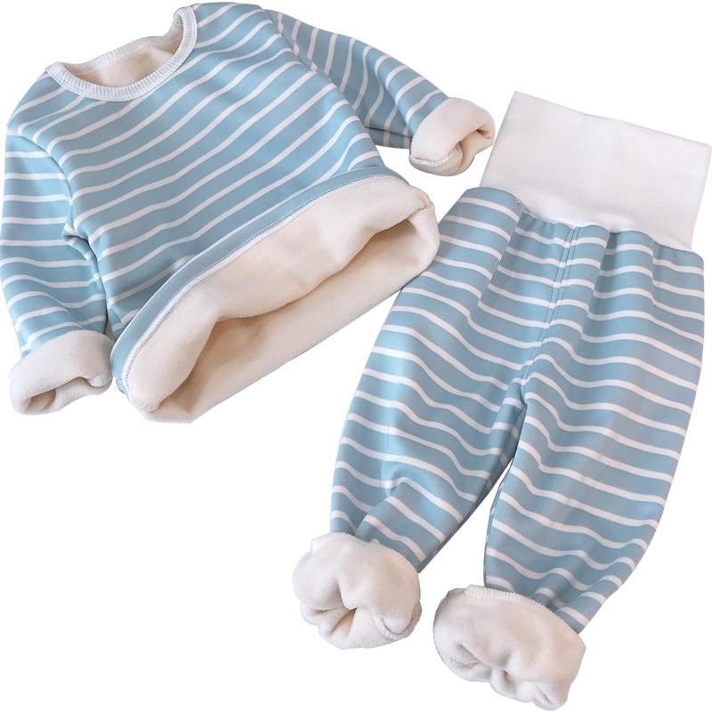 儿童高腰护脐套装加绒保暖内衣