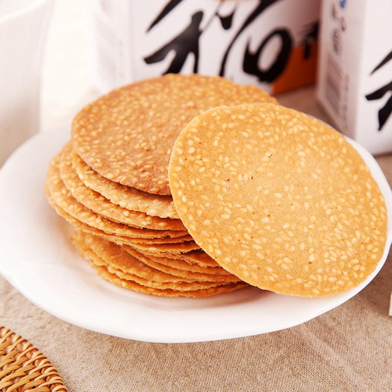 香薄脆饼干酥脆薄饼超薄老式煎饼整箱零食无山要 稻香村芝麻瓦片