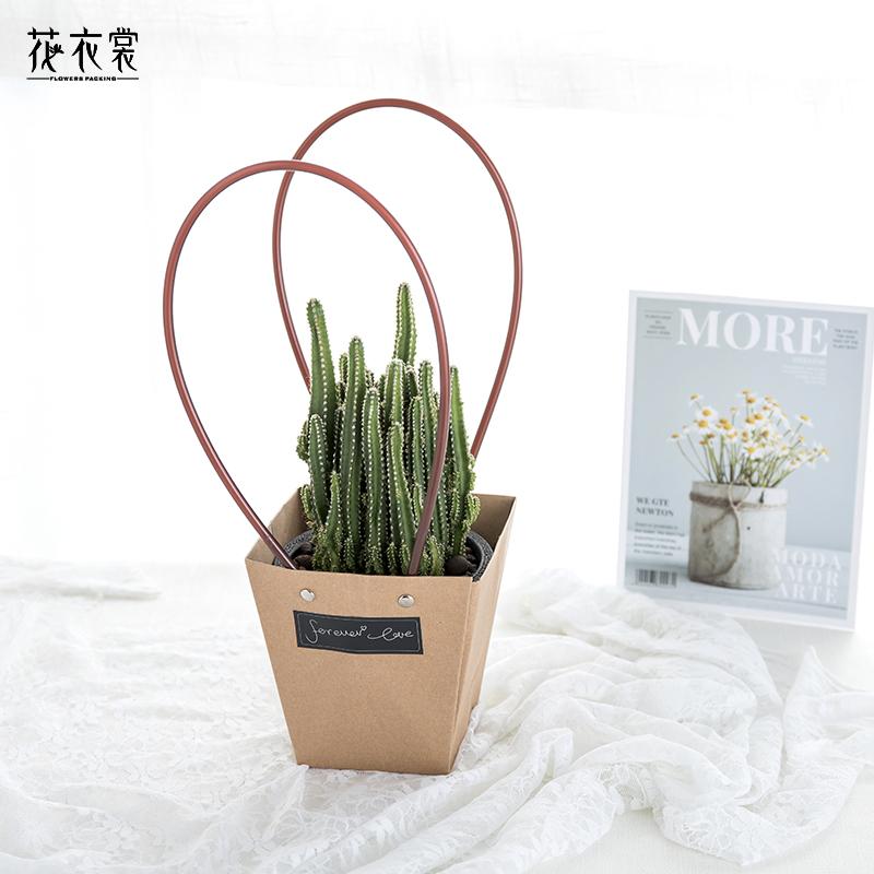 花衣裳 防水牛皮手提袋纸袋T型鲜花袋多肉绿植盆栽礼品袋花店用品