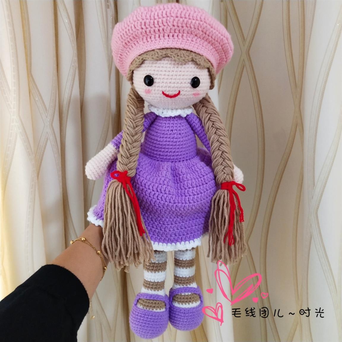 钩针毛线玩偶娃娃贝雷帽女孩小姑娘成品 diy 手工编织 毛线团儿时光