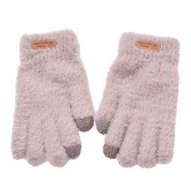 毛绒手套女冬保暖加绒加厚可爱韩版学生分指毛线可触屏防寒骑行车