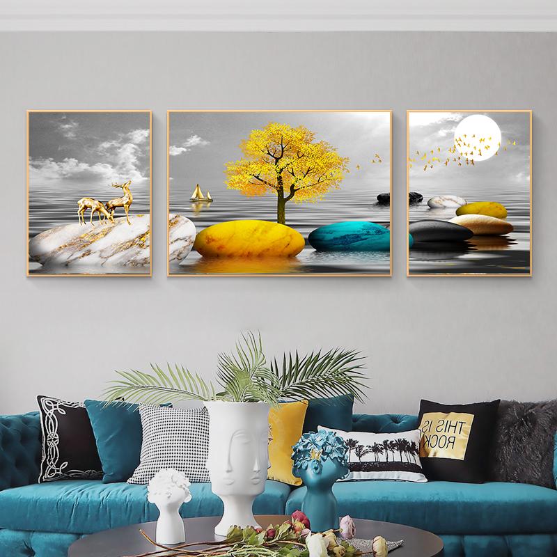 石來運轉客廳裝飾畫山水沙發背景墻裝飾畫一帆風順門廳晶瓷畫三聯
